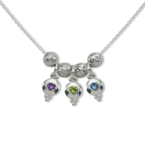 Sterling Silver Story of Us 3 Birthstone Necklace