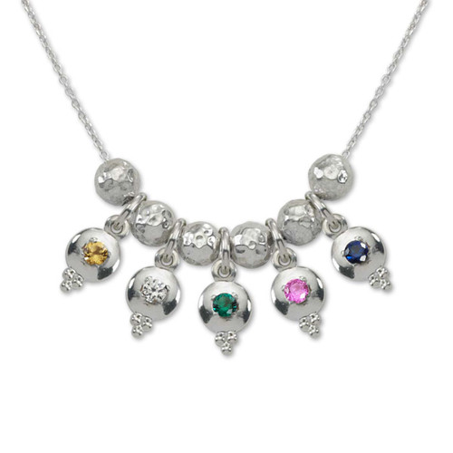 Sterling Silver Story of Us 5 Birthstone Necklace