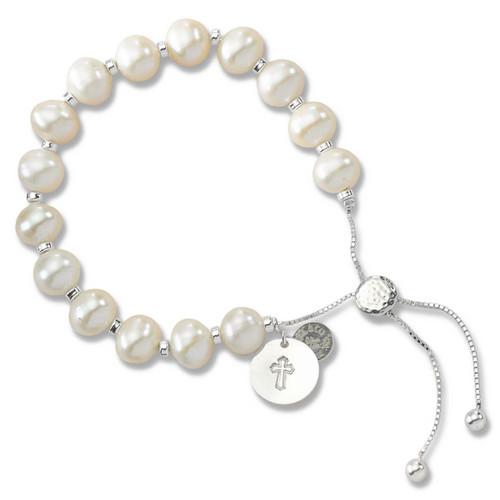Sterling Silver Color Me Faithful Freshwater Pearl Lariat Bracelet