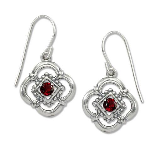Sterling Silver Verona Genuine Garnet Earrings