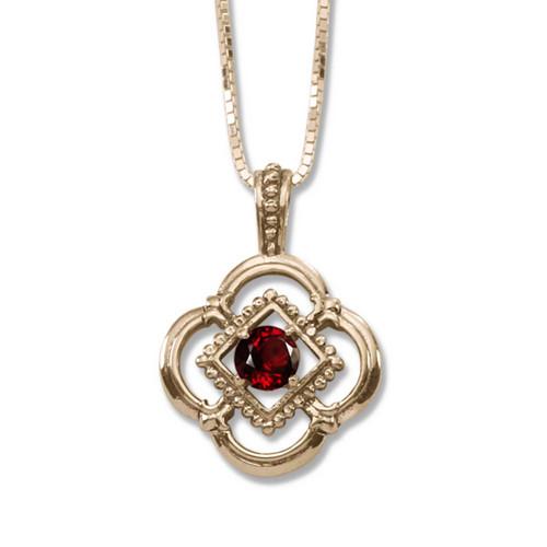 14kt Gold Verona Genuine Garnet Pendant