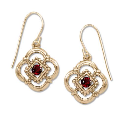 14kt Gold  Verona Genuine Garnet Earrings