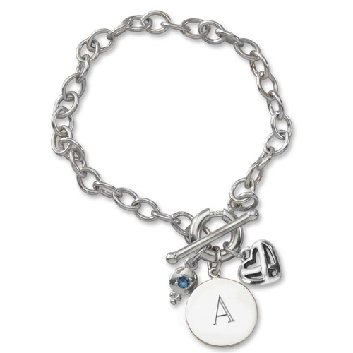 Sterling Silver Toggle Charm Holder Bracelet