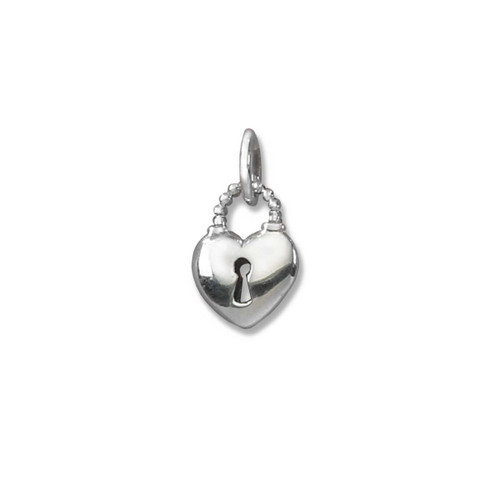 Sterling Silver Padlock Heart Charm Pendant