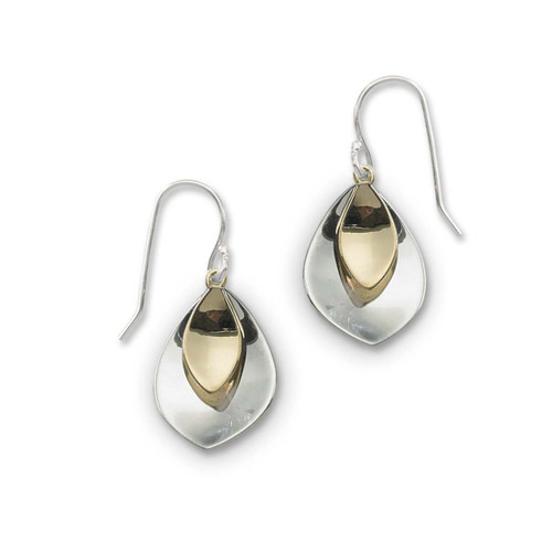 Sterling Silver and 14kt Gold Petals Earrings