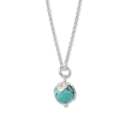 Sterling Silver Turquoise Bud Pendant