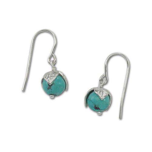 Beautiful Sterling Silver Turquoise Bud Earrings