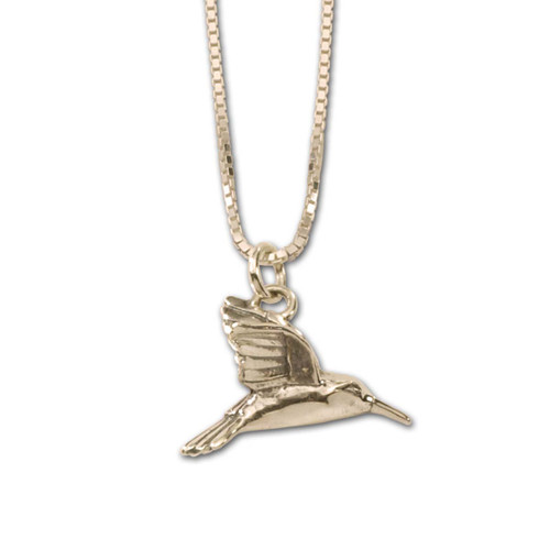 Adorable 14kt Gold Hummingbird Pendant