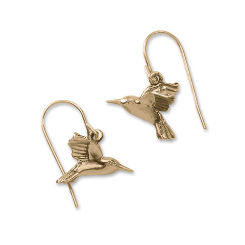 14kt Gold Hummingbird Hoop Earrings