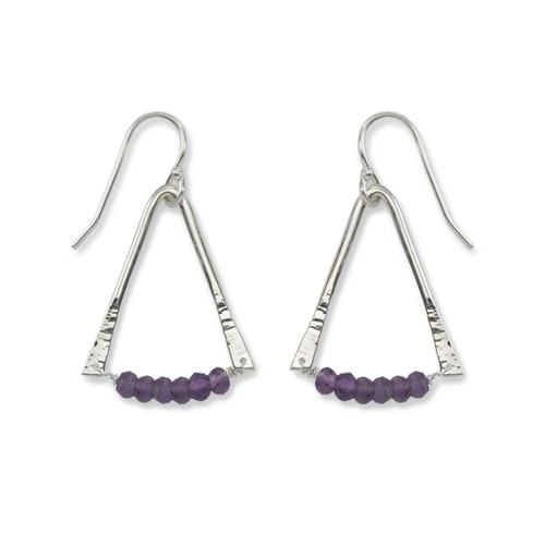 Sterling Silver Trilogy Amethyst Purple Gemstone Earrings