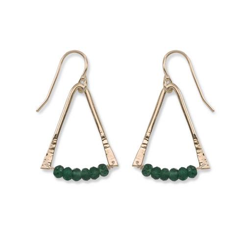 14kt Gold Trilogy Green Aventurine Gemstone Earrings