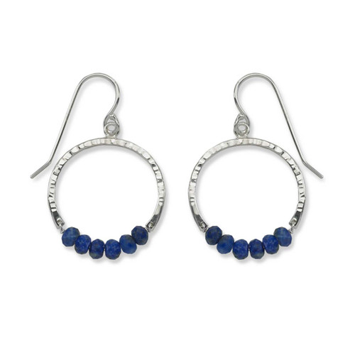Sterling Silver Full Circle Lapis Gemstone Earrings