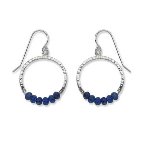 Sterling Silver Full Circle Lapis Blue Gemstone Earrings