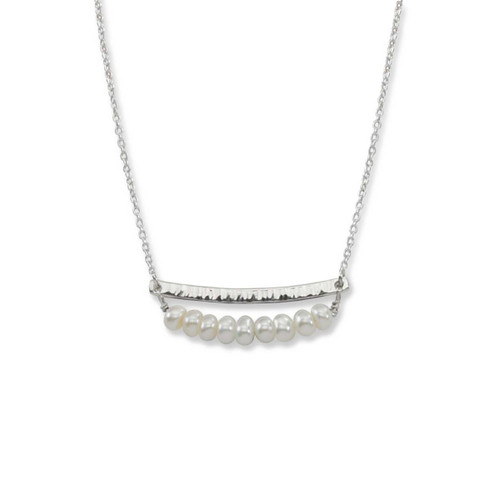 Sterling Silver Side by Side Pearl Gemstone Necklace