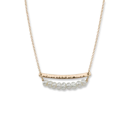 14kt Gold Side by Side Pearl Gemstone Necklace