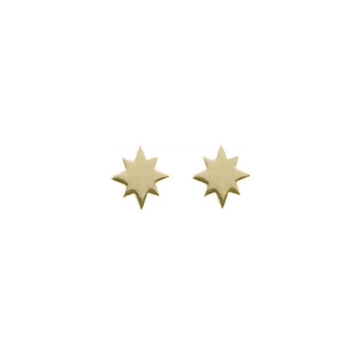"14kt Gold North Star Stud Earrings Symbolize ""True North"""