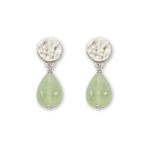 Sterling Silver Dew Drop Genuine Prehnite Earrings