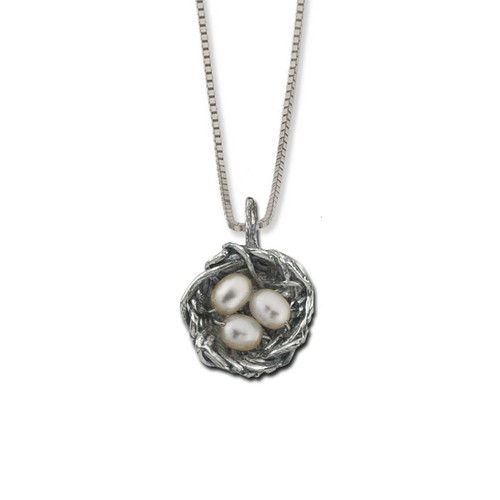 Sterling Silver Bird's Nest Pendant with Freshwater Pearls