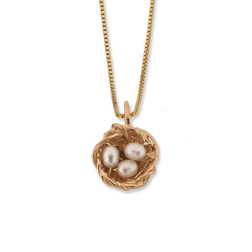 14kt Gold Bird's Nest Pendant with Freshwater Pearls