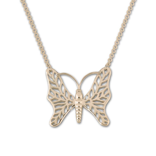 14kt Gold Butterfly Necklace With Round Cable Chain