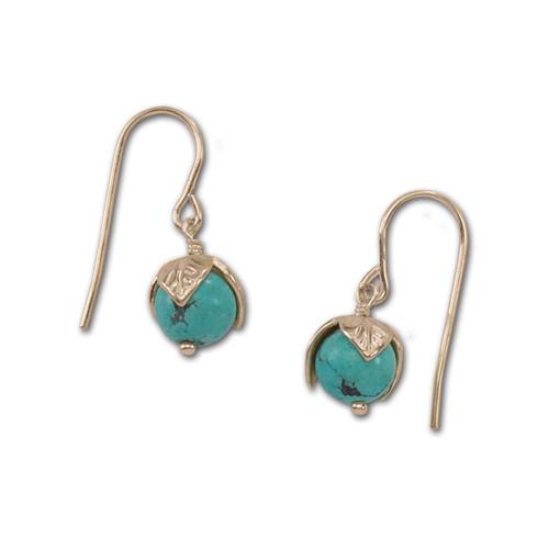 14kt Turquoise Bud Earrings