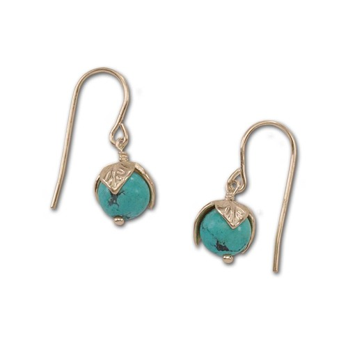 14kt Gold Turquoise Bud Stone Earrings