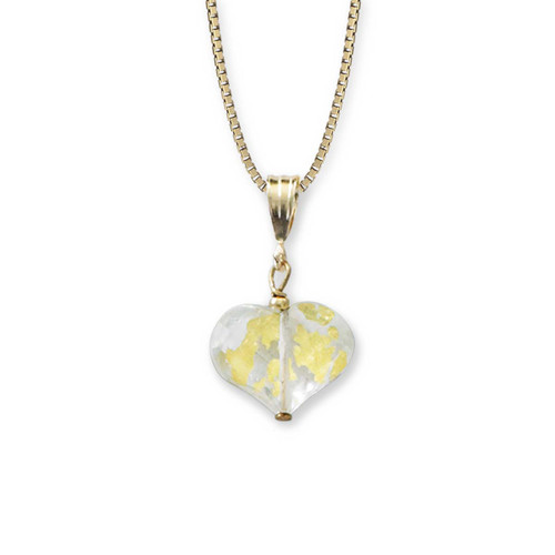 14kt Genuine Heart of Gold Quartz Pendant