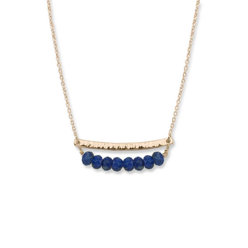 14kt Gold Side by Side Lapis Gemstone Necklace