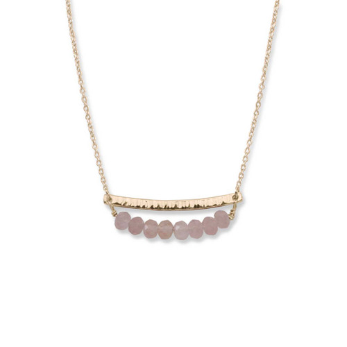 14kt Gold Side by Side Rose Quartz Gemstone Necklace