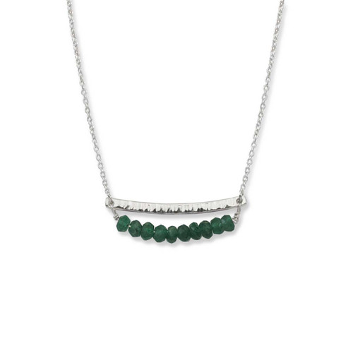 Sterling Silver Side by Side Green Aventurine Gemstone Necklace