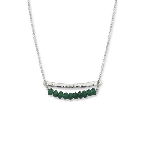 Sterling Silver Side by Side Green Aventurine Gemstone Necklace