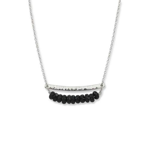 Sterling Silver Side by Side Black Onyx Gemstone Necklace