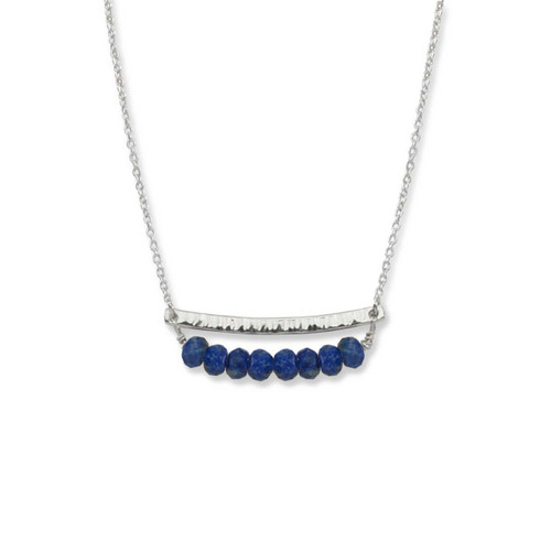 Sterling Silver Side by Side Lapis Gemstone Necklace