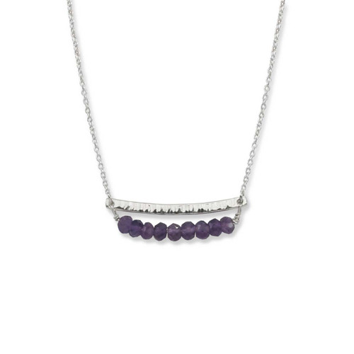 Sterling Silver Side by Side Amethyst Gemstone Necklace