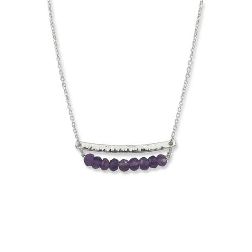 Sterling Silver Side by Side Amethyst Gemstone Necklace