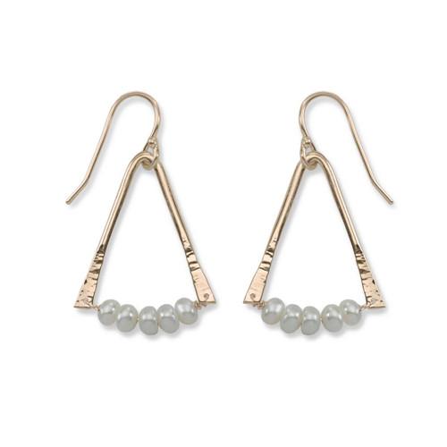 14kt Gold Trilogy Pearl Aventurine Gemstone Earrings