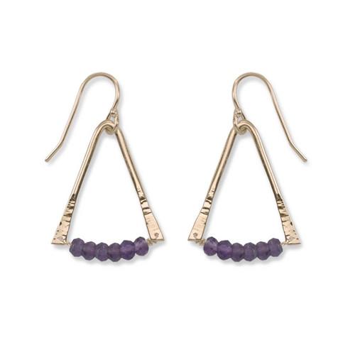 14kt Gold Trilogy quartz Amethyst Gemstone Earrings