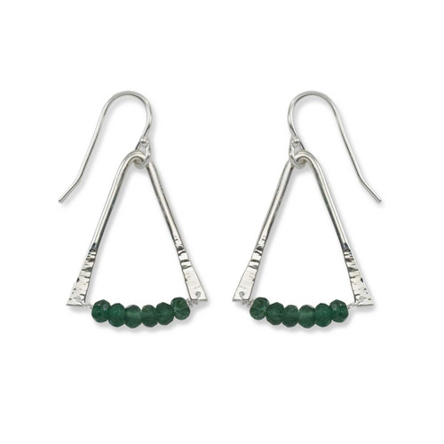 Sterling Silver Trilogy Green Aventurine Gemstone Earrings