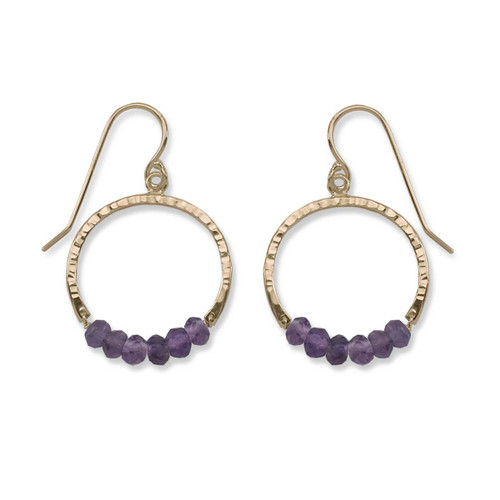 14kt Gold Full Circle Amethyst Gemstone Earrings