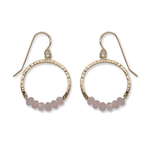 14kt Gold Full Circle Rose Quartz Gemstone Earrings