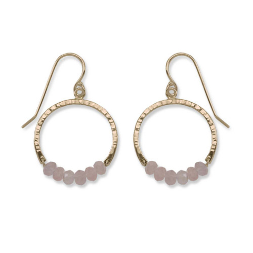 14kt Gold Full Circle Rose Quartz Gemstone Earrings