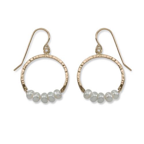 14kt Gold Full Circle Pearl Gemstone Earrings