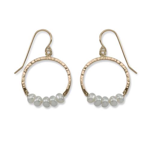 14kt Gold Full Circle Pearl Gemstone Earrings