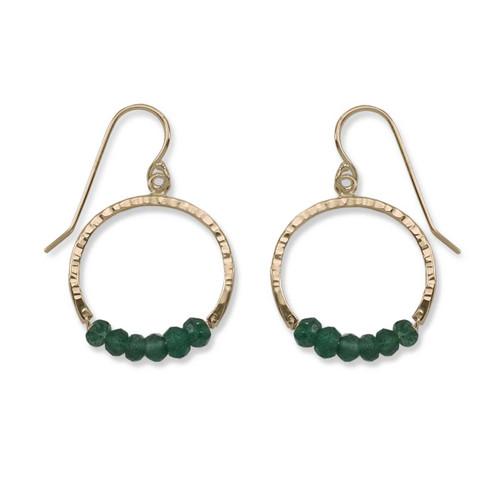 14kt Gold Full Circle Green Aventurine Gemstone Earrings