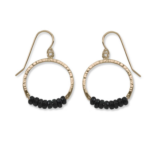 14kt Gold Full Circle Black Onyx Gemstone Earrings
