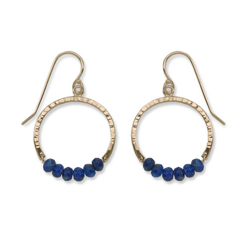 14kt Gold Full Circle Lapis Gemstone Earrings