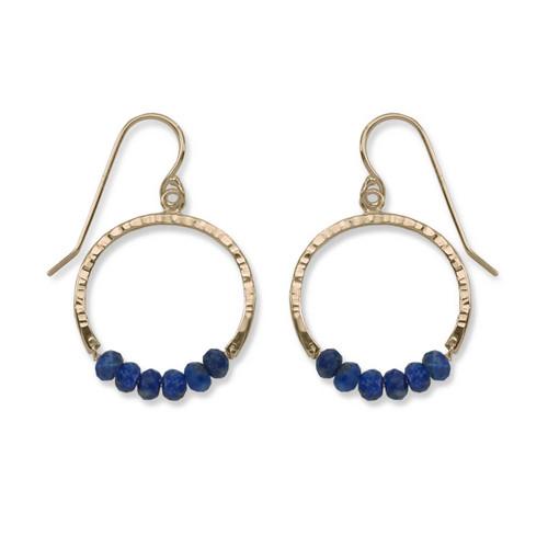14kt Gold Full Circle Lapis Blue Gemstone Earrings