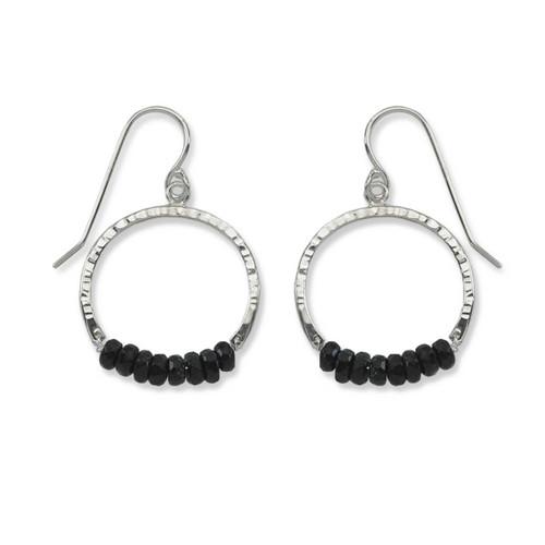 Sterling Silver Full Circle Black Onyx Gemstone Earrings