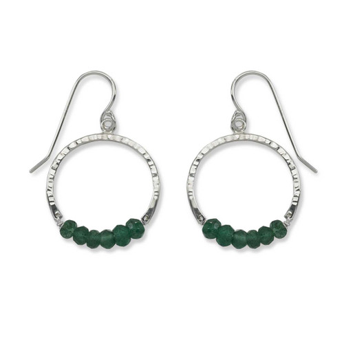 Sterling Silver Full Circle Green Aventurine Gemstone Earrings