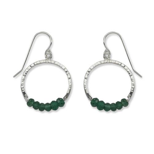 Sterling Silver Full Circle Green Aventurine Gemstone Earrings